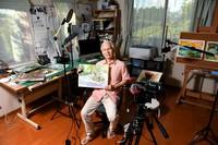 YouTuber and painter Harumichi Shibasaki is seen in his art studio in Chiba Prefecture on Sept. 4, 2020. (Mainichi/Kaho Kitayama)