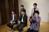 Members of Japanese pop music band ARASHI listen to a question during an interview with The Associated Press in Tokyo on Sept. 17, 2020. (AP Photo/Hiro Komae)