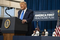 President Donald Trump delivers remarks on healthcare at Charlotte Douglas International Airport, on Sept. 24, 2020, in Charlotte, N.C. (AP Photo/Evan Vucci)