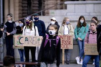 Swedish climate activist Greta Thunberg and others protest in front of the Swedish Parliament Riksdagen in Stockholm on Sept. 25, 2020. (Janerik Henriksson/TT News Agency via AP)