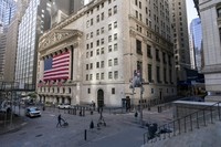A giant American Flag hangs on the New York Stock Exchange on Sept. 21, 2020. (AP Photo/Mary Altaffer)
