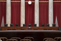 In this June 2019 file photo the empty courtroom is seen at the U.S. Supreme Court in Washington as the justices prepare final decisions of the high court's term. (AP Photo/J. Scott Applewhite, File)