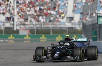 Mercedes driver Valtteri Bottas of Finland steers his car during the Russian Formula One Grand Prix, at the Sochi Autodrom circuit, in Sochi, Russia, on Sept. 27, 2020. (Yuri Kochetkov, Pool Photo via AP)