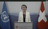 Simonetta Sommaruga, President of Switzerland, speaks in a pre-recorded video message during the 75th session of the United Nations General Assembly, on Sept. 23, 2020, at UN headquarters in New York, in this UNTV file image. (UNTV via AP)