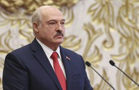 Belarusian President Alexander Lukashenko attends his inauguration ceremony at the Palace of the Independence in Minsk, Belarus, on Sept. 23, 2020. (Maxim Guchek/Pool Photo via AP)