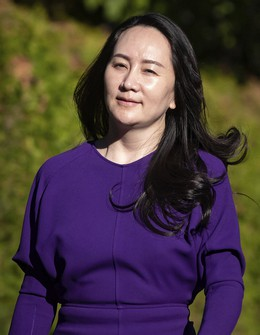 Meng Wanzhou, chief financial officer of Huawei, leaves her home to attend a court hearing in Vancouver, Canada, on September 29, 2020. (Darryl Dyck/The Canadian Press via AP)