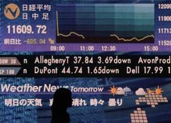 リーマン・ブラザーズの経営破たんを受けて日経平均株価が下落したことを示すボード=東京都千代田区で2008年9月16日、内藤絵美撮影