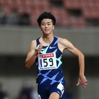 男子100メートル準決勝、2組1着の多田修平=新潟市のデンカビッグスワンスタジアムで2020年10月1日、久保玲撮影