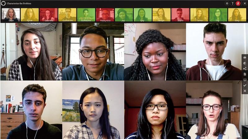 独自プラットフォームを利用した授業の一例。学生の画像の色で、発言量の多さが分かる(ミネルバのYouTubeチャンネルより)