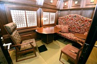 The inside of the first car of Kyushu Railway Co.'s new sightseeing train