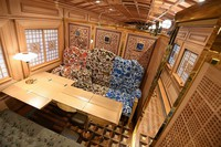 The inside of the second car of Kyushu Railway Co.'s new sightseeing train