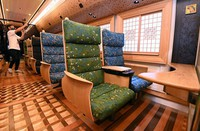 The inside of the fifth car of Kyushu Railway Co.'s new sightseeing train
