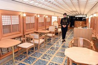 A space in the fourth car to hold events or to use as a shared space on Kyushu Railway Co.'s new sightseeing train
