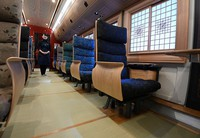 The inside of the sixth car of Kyushu Railway Co.'s new sightseeing train