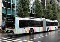 An articulated bus that began operating as part of the