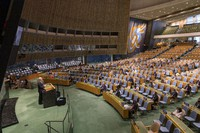 This image provided by the U.N. shows the general debate in progress at the U.N.'s General Assembly in New York on Sept. 22, 2020. (Image courtesy of the U.N.)