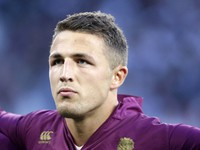 In this Aug. 15, 2015 file photo, England's Sam Burgess is in the lineup prior to the start of an international friendly rugby union match between England and France at Twickenham stadium in London. (AP Photo/Alastair Grant)