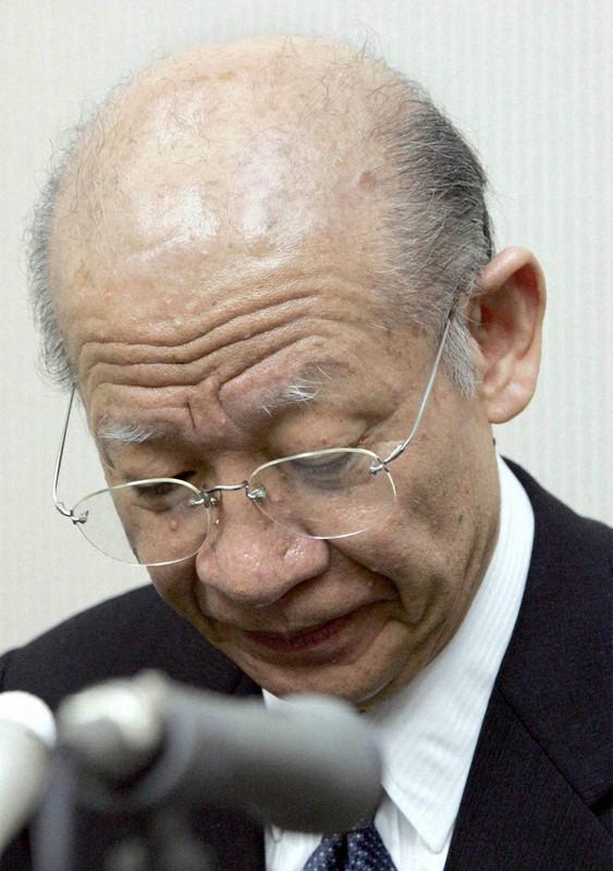 株式取引の全面停止を受け会見でおわびする東証の西室泰三社長兼会長(当時、2006年1月18日、竹内幹写す)