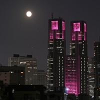 乳がん早期発見の啓発でピンク色にライトアップされた東京都庁舎のそばに輝く中秋の名月=東京都中野区で2020年10月1日、手塚耕一郎撮影
