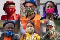 In this combination of photos, New Yorkers pose for photos during the coronavirus outbreak in New York. (AP Photo/Mark Lennihan)