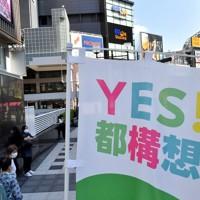 大阪都構想の賛否を問う住民投票が告示。都構想への賛成を呼び掛けるのぼり旗=大阪市中央区で2020年10月12日午前11時19分、平川義之撮影