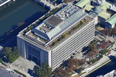 大阪市役所=大阪市北区で、本社ヘリから加古信志撮影