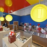 オープンに先駆けて報道関係者に公開されたUSJ内の「マリオ・カフェ&ストア」のカフェ店内=大阪市此花区で2020年10月15日午前10時44分、山田尚弘撮影