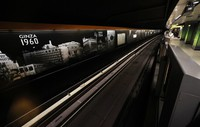 A timeline with pictures showing how the cityscape around Ginza Station changed over time is seen at the Ginza Line platform in Tokyo's Chuo Ward on Oct. 16, 2020. (Mainichi/Shinnosuke Kyan)