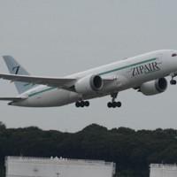 韓国・ソウルへ向け飛び立つZIPAIRの初便=成田空港で2020年10月16日午前9時30分、中村宰和撮影