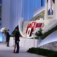 故中曽根康弘元首相の内閣・自民党合同葬で追悼の辞を述べる菅義偉首相=東京都港区で2020年10月17日午後2時25分、玉城達郎撮影