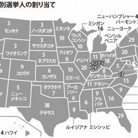 米大統領選の州別選挙人の割り当て
