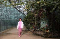 A fashion show by designer Takuya Morikawa, founder of the brand TaaKK, takes place in a greenhouse at Shinjuku Gyoen National Garden in Tokyo's Shinjuku Ward on Oct. 12, 2020. (Mainichi/Tatsuro Tamaki)