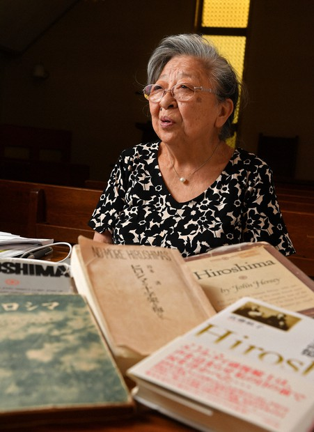Koko Kondo, a survivor of the Hiroshima atomic bombing, speaks about her wishes for the abolition of nuclear weapons, with books she and her father authored in front of her, in this photo taken in Miki, Hyogo Prefecture, on Sept. 17, 2020. (Mainichi/Naohiro Yamada)