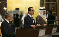 U.S. Treasury Secretary Stephen Mnuchin speaks after an Israeli delegation signed an agreement with Bahraini officials in Manama, Bahrain, on Oct. 18, 2020. (Ronen Zvulun/Pool Photo via AP)