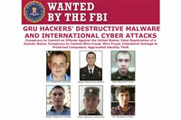 This image released by the FBI shows part of the wanted poster for six Russian military officers who sought to disrupt through computer hacking the French election, the Winter Olympics and U.S. businesses according to a Justice Department indictment unsealed, on Oct. 19, 2020, that details attacks on a broad range of political, financial and athletic targets. (FBI via AP)