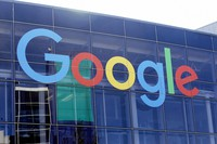 In this Sept. 24, 2019, file photo a sign is shown on a Google building at their campus in Mountain View, Calif. (AP Photo/Jeff Chiu, File)