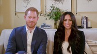 This screengrab released by Time shows Harry and Meghan, the Duke and Duchess of Sussex, hosting a special Time100 talk on Oct. 20, 2020, focusing on the digital world. (Time via AP)