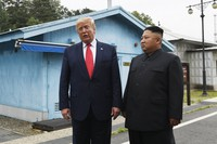 In this June 30, 2019 file photo, U.S. President Donald Trump meets with North Korean leader Kim Jong Un at the border village of Panmunjom in the Demilitarized Zone, South Korea. (AP Photo/Susan Walsh)