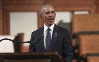 In this July 30, 2020 file photo, former U.S. President Barack Obama, addresses the service during the funeral for the late Rep. John Lewis, D-Ga., at Ebenezer Baptist Church in Atlanta. (Alyssa Pointer/Atlanta Journal-Constitution via AP, Pool)