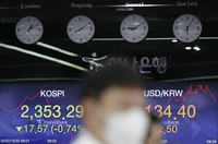 Currency traders watch computer monitors near the screens showing the Korea Composite Stock Price Index (KOSPI), left, and the foreign exchange rate between U.S. dollar and South Korean won at the foreign exchange dealing room in Seoul, South Korea, on Oct. 22, 2020. (AP Photo/Lee Jin-man)