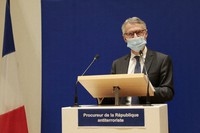 French anti-terrorist state prosecutor Jean-Francois Ricard holds a press conference on Oct. 21, 2020 in Paris. (AP Photo/Lewis Joly)