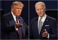 This combination of Sept. 29, 2020 file photos shows U.S. President Donald Trump, left, and former Vice President Joe Biden during the first presidential debate at Case Western University and Cleveland Clinic, in Cleveland, Ohio. (AP Photo/Patrick Semansky)