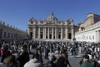 Faithful listen to Pope Francis' Angelus noon prayer in St. Peter's Square at the Vatican on Oct. 18, 2020. (AP Photo/Gregorio Borgia)
