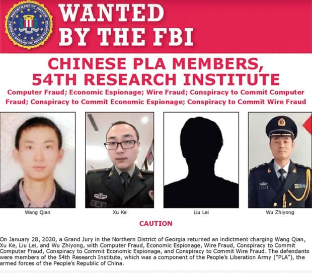 FBIは20年2月にエクイファクスをハッキングした4人の人民解放軍の軍人を指名手配 (出所)FBIのサイトより