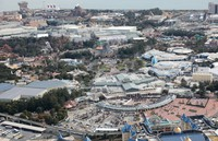 This photo taken from a Mainichi Shimbun helicopter shows Tokyo Disneyland and Tokyo DisneySea in February 2020. The parks temporarily suspended their operations following the novel coronavirus outbreak. (Mainichi/Tatsuro Tamaki)