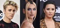 This combination photo shows, from left, Justin Bieber, Dua Lipa and Demi Lovato who will take part in various planned events urging Americans to vote. (AP Photo)