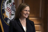 Supreme Court nominee Amy Coney Barrett meets with Sen. Martha McSally, R-Ariz., on Oct. 21, 2020, on Capitol Hill in Washington. (Greg Nash/Pool via AP)