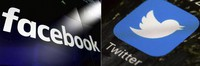 This combination of photos shows logos for social media platforms Facebook and Twitter. (AP Photo)