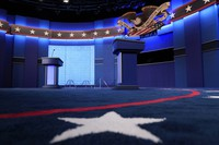 Lecterns for U.S. President Donald Trump and Democratic presidential candidate former Vice President Joe Biden are seen onstage as preparations take place for the second Presidential debate at Belmont University on Oct. 22, 2020, in Nashville, Tennessee. (AP Photo/Patrick Semansky)