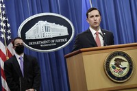Acting Assistant Attorney General Brian Rabbitt, of the U.S. Justice Department's Criminal Division, speaks at the Justice Department in Washington, on Oct. 22, 2020. (Yuri Gripas/The New York Times via AP, Pool)